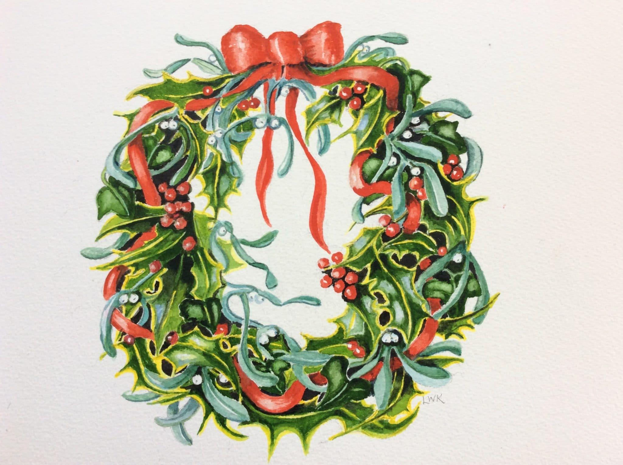 Holly and Mistletoe Wreath