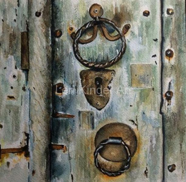 Old door with two handles